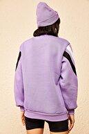 Bianco Lucci Kadın Lila Ok Baskılı 3 İplik Sweatshirt 10161009