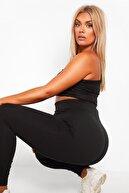 brand no:10 Kadın Siyah Çelik Örme Sıkılaştırıcı ve Toparlayıcı Büyük Beden Korse Tayt