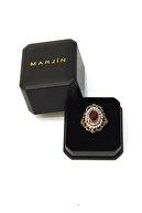 Marjin Kadın Kırmızı Taşlı Otantik Tasarım Altın Renkli Yüzükkırmızı