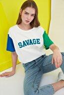 TRENDYOLMİLLA Ekru Aplike Nakışlı Boyfriend Örme T-Shirt TWOSS21TS0213