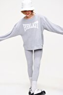 Trend Alaçatı Stili Kadın Grimelanj Sweatshirt Örme Tayt İkili Takım ALC-X5890