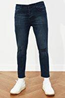 TRENDYOL MAN Indigo Erkek Destroylu Skinny Crop Jeans TMNSS21JE0065