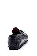 Derimod Erkek Siyah Deri Kroko Desenli Loafer