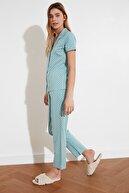 TRENDYOLMİLLA Mint Çiçek Desenli Örme Pijama Takımı THMAW20PT0154