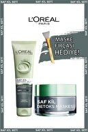L'Oreal Paris Saf Kil Detoks Jel + Saf Kil Detoks Maskesi + Maske Fırçası