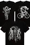 Rock & Roll Erkek Siyah Yıldız Bisikletçileri, Daha Hızlı, Bisikletçi Astronot 3'lü Eko Paket T-shirt