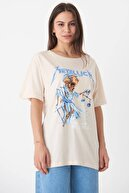 Addax Kadın Taş Baskılı T-Shirt P0645 - T3 Adx-0000018029