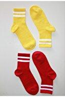 Çoraphane Renkli Çizgili Kolej Çorabı 10 Çift