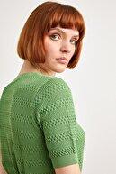 Love My Body Kadın Yeşil Ajurlu Kısa Kol Triko Kazak 139L7828000