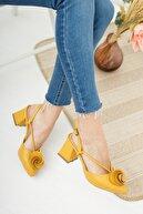 Moda Değirmeni Kadın Hardal Cilt Gül Fiyonklu Topuklu Ayakkabı Md1042-119-0004
