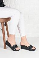 Weynes Kadın Siyah Simli Dolgu Topuk Terlik
