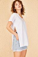 Bianco Lucci Kadın Yan Yırtmaçlı Oversize Basic Tshirt