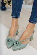Moda Değirmeni Kadın Su Yeşili Cilt Gül Fiyonklu Topuklu Ayakkabı Md1042-119-0004