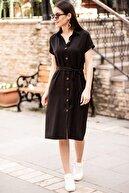 armonika Kadın Siyah Beli Kemerli Kısa Kol Gömlek Elbise ARM-19Y001068
