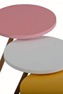interGO Ahşap Ayaklı Yuvarlak Pastel Tasarım Pembe Beyaz Sarı Üçlü Zigon Sehpa