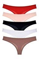 LadyMelex Kadın Karışık Koyu Renkler Klasik Tanga 5'li Paket