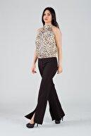 Yare Kadın Siyah Paçası Yırtmaçlı İspanyol Paça Pantolon