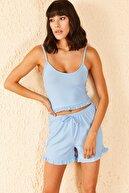 Bianco Lucci Kadın Fırfır Detay Askılı Şortlu Pijama Takımı