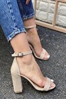 İnan Ayakkabı Kadın Bej Tek Bant Bilekten Tokalı Topuklu Ayakkabı