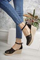 epaavm Dolgu Topuk Örgülü Siyah Ayakkabı