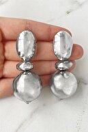 Takıştır Kadın  Gümüş Renk Top Detaylı Metal Küpe (çift)