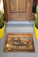 Evsebu Pienso Home Evimize Hoşgeldiniz Tahta Desenli Kapı Önü Paspası