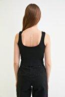 TRENDYOLMİLLA Siyah Fermuarlı Fitilli Crop Örme Bluz TWOSS21BZ0762