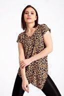 GİYSA 3693 Leopar Altı Çapraz Viskon T-shirt