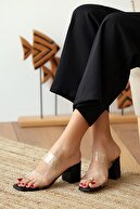Pembe Potin Kadın Siyah Topuklu Ayakkabı