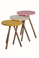 interGO Renkli Üçlü Zigon Sehpa Ahşap Ayaklı Yuvarlak Pastel Tasarım - Sarı Krem Pembe