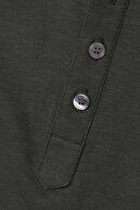 CottonLand Brodıe Erkek Pamuklu Kısa Kollu Düğmeli T-shirt Koyu Yeşil