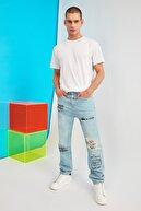 TRENDYOL MAN Açık Mavi Erkek Yüksek Bel Straight Fit Baskılı Jeans TMNSS21JE0297