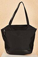 Bianco Lucci Bag Kadın Siyah Beyaz Çizgili Alt Kısmı Deri Detaylı Omuz Çantası Cnt204