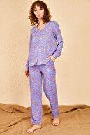 Bianco Lucci Kadın Küçük Çiçek Desenli Pijama Takımı