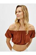 Koton Kadın Kahverengi Crop Bluz