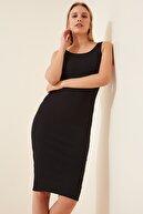 Happiness İst. Kadın Siyah Askılı Fitilli Örme Elbise Lİ00063