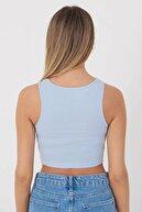 Addax Kadın Buz Mavi Kolsuz Bluz A0962 - T1 ADX-0000022396
