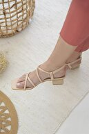 Straswans Kadın Ten Rico Topuklu Küt Burun Deri Sandalet