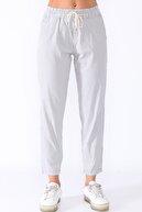 PodiumStar Yüksek Bel Beli Büzgülü Pamuklu Likralı Gri Çizgili Pantolon