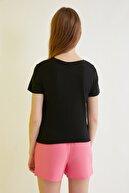 TRENDYOLMİLLA Siyah Baskılı Bağlamalı Basic Örme T-Shirt TWOSS21TS0668
