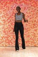 Grenj Fashion Siyah Ispanyol Paça Yüksek Bel Dalgıç Kumaş Toparlayıcı Tayt