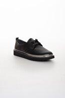 Odal Shoes Kadın Siyah Timsah Derisi Detaylı Casual Ayakkabı