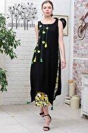 Chiccy Kadın Siyah Limon Desenli Alt Ve Nakışlı Üst İkili Dokuma Elbise M10160000EL95593