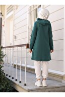 TOFİSA Kadın Zümrüt Yeşil Kapüşonlu Şerit Detaylı Spor Kap