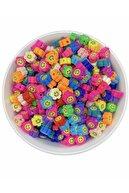 Hedef Bijuteri 25 Adet 10mm Polimer Kil Fimo Karışık Renkli Gülen Çiçek Gülen Papatya Boncuk,takı Yapımı