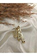 Eylülün Takısı Kadın Gold Renk Üç Boy Tasarım Küpe