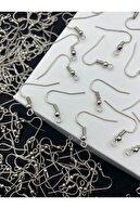 Hedef Bijuteri 100 Adet Nikel Renk - Gümüş Renk Küpe Kancası,çengelli Küpe Klipsi,küpe Yapım Malzemesi