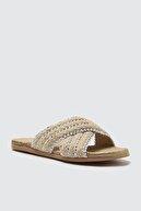 Trendyol Shoes Bej Çapraz Bantlı Kadın Terlik TAKSS21TE0008