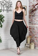 Chiccy Kadın Siyah Özel Tasarım Yanları Mendil Dikişli Şalvar Pantolon M10060000PN98891