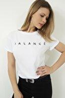Vis a Vis Kadın Beyaz Bisiklet Yaka Baskılı Basic Örme T-shirt STN878KTS118
